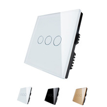 Wholesaler Livolo Ivory White Crystal Glass Panel 3 Gang 1 Way Digital Touch Light Switch/Wall Light Touch Switch