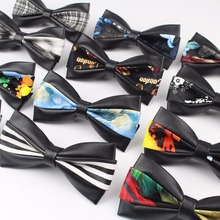 Two Side Classic PU Pattern Leather Ties Butterfly Party Bowtie Black Plush Noble Bow Tie(China)