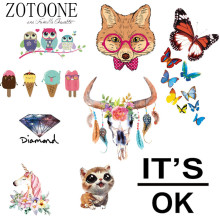ZOTOONE Custom Owl Unicorn Patch Thermal Iron On Transfer Sticker Vinyl Hot Heat Transfers For Clothes T shirt Fabric Applique(China)