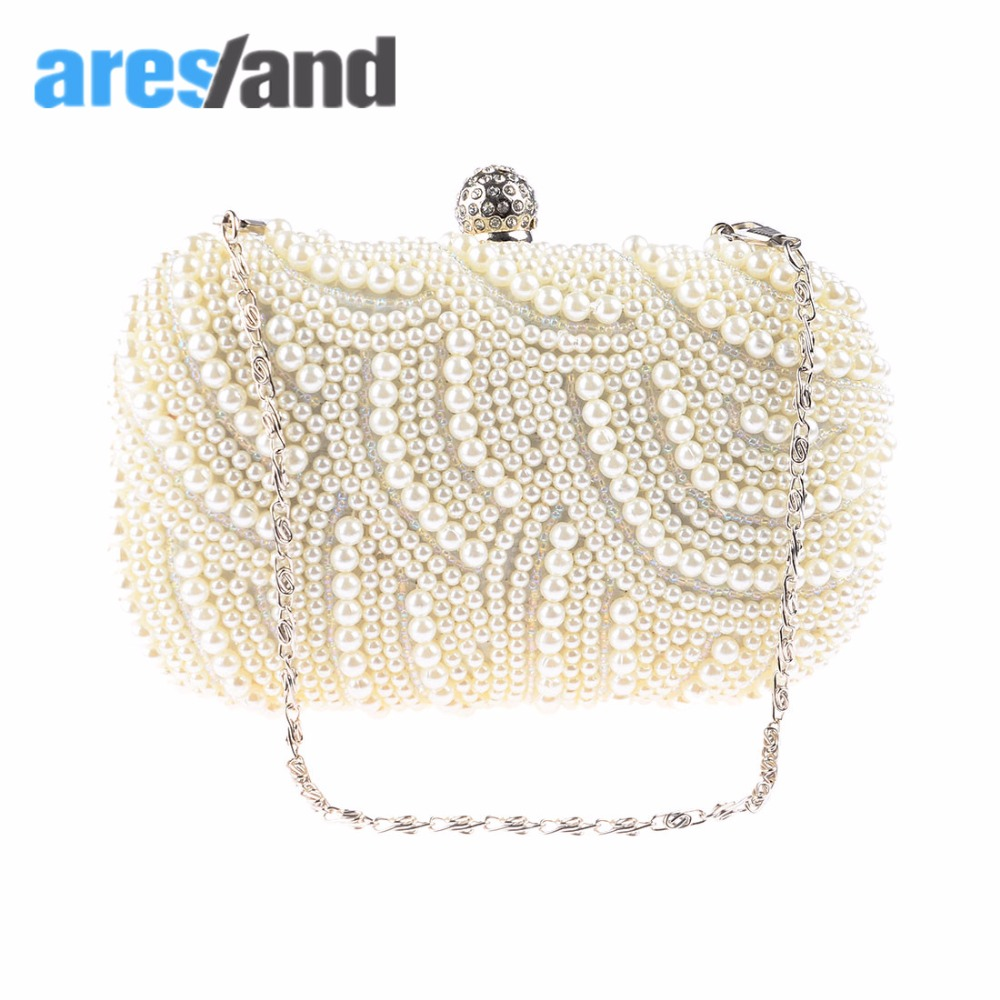 Aresland Fashion Elegant Womens Ladies Square Gorgeous Pearl Beaded Bridal Wedding Prom Evening Clutch Bag<br><br>Aliexpress
