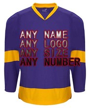 Custom Any Design Logo Factory Wholesale ICE Hockey Jerseys Replica Home Away Mens Vintage Jersey Purple Gold XXS-6XL
