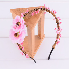 Peach Blossom Flower Elasticity Floral Headband Hairstyles Headwrap Floral Crown Wedding Women Christmas Woman Girl Photography(China)