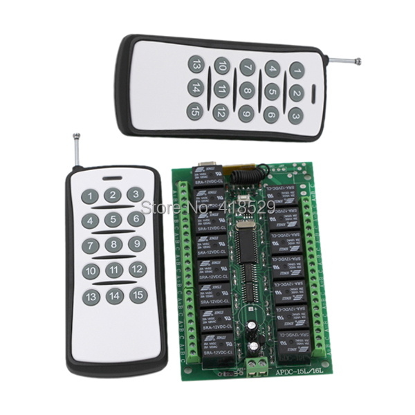 15CH wireless remote switch 12v,Fixed code 2 Transmitter 1 Receiver RF Remote Control Switch SKU: 5055<br>