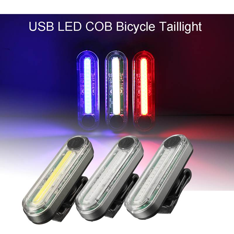 6 Modes USB Rechargeable LED COB Bicycle Tail Light Taillight Bike Rear Light Night Riding Warning Lamp White/Blue/Red<br><br>Aliexpress