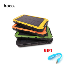 hoco 2017 hot sale 10000mAh Solar Power Bank Dual USB Universal Solar Charger Battery Charger Powerbank for Phone Fast Shipping