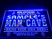 DZ033- Name Personalized Custom Man Cave Basketball Bar Neon Sign hang sign home decor shop crafts(China)