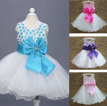 2017 Fashion Pretty Baby Kids White Red Bow Flower dress Girls Summer Birthday Party Princess Dresses children's clothes