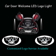 2x Oakland Raiders Logo Car Door Welcome Ghost Shadow Puddle Spotlight Laser Projector LED Light (1202)