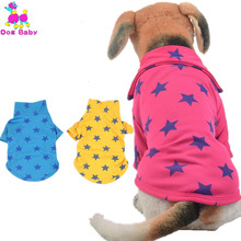DOGBABY Pet Vest 100% Cotton POLO Dog Coat Print Star Pattern Dog Cat Clothes Blue Yellow Rose Red Jacket For Teddy Chihuahua(China)