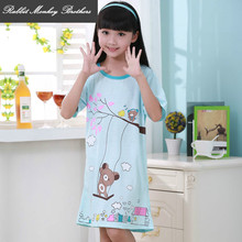Kids girls summer pajamas Girl cartoon bear pattern comfortable style sling nightdress girls nightgown nightshirt Factory Direct(China)