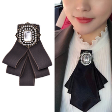 OBN New Fashion Vintage Square Zircon Badge Dress Shirt Brooches Pin Bow Tie Dress Collar Jewelry Accessories(China)