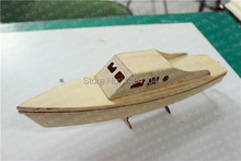 NIDALE model Free shipping laser cut Motorized dinghy wood puzzle Shark speed boat model Electric waterproof yacht toys(China)