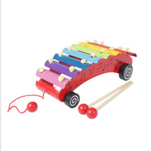 HEY FUNNY 1pc/lot 23*13cm enlightenment car Roll Bell music aids wooden children toys small octave hand knock piano Toys
