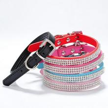 3 Rows Luxury Crystal Rhinestone Leather Dog Collar Buckle Puppy Necklace Collars For Small Medium Dogs Rose Pink Red Blue 20E(China)