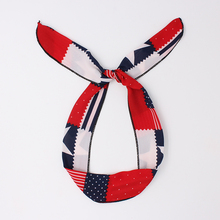 News Bunny Rabbit Ears Cotton Wrap Bow Bowknot National Flag Pattern Hair Band Headband Wire Bendy Headdress Accessories(China)