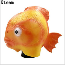 Top Grade 100% Latex Funny Halloween Party Cosplay Fish Head Mask Latex Cute Masquerade Rubber Golden Fish Mask Lovely Animal(China)