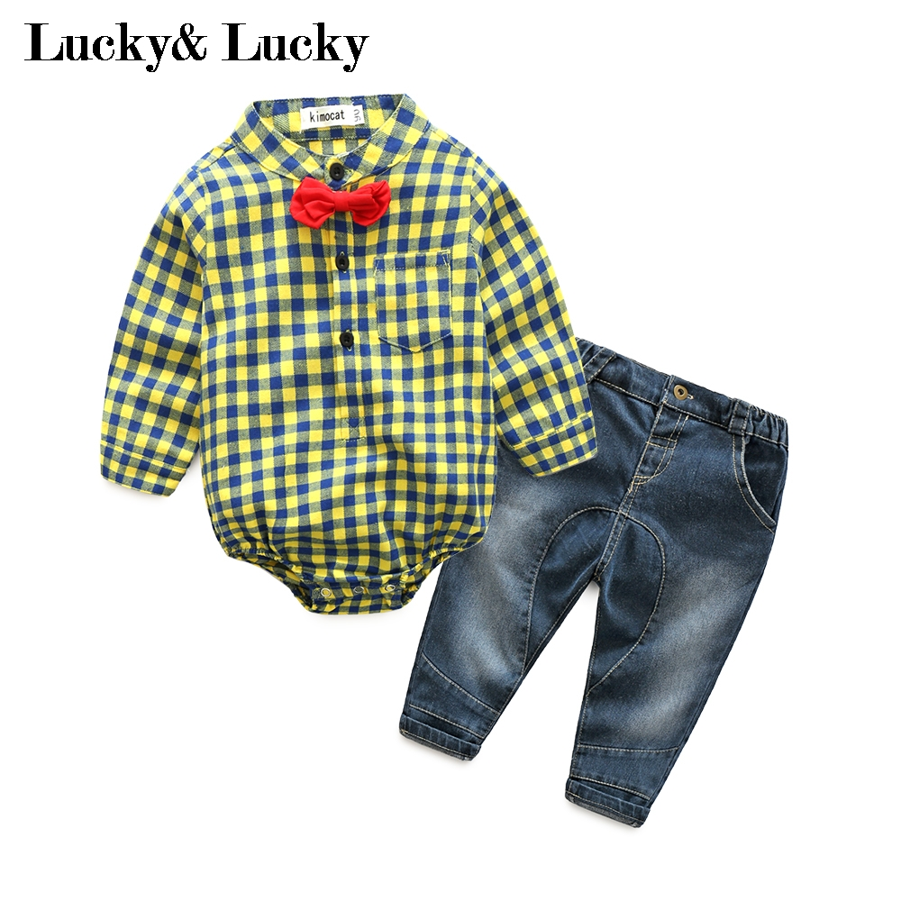 Fashion style baby boy clothes yellow plaid jumpsuit+ jeans baby born baby boys clothes <br><br>Aliexpress