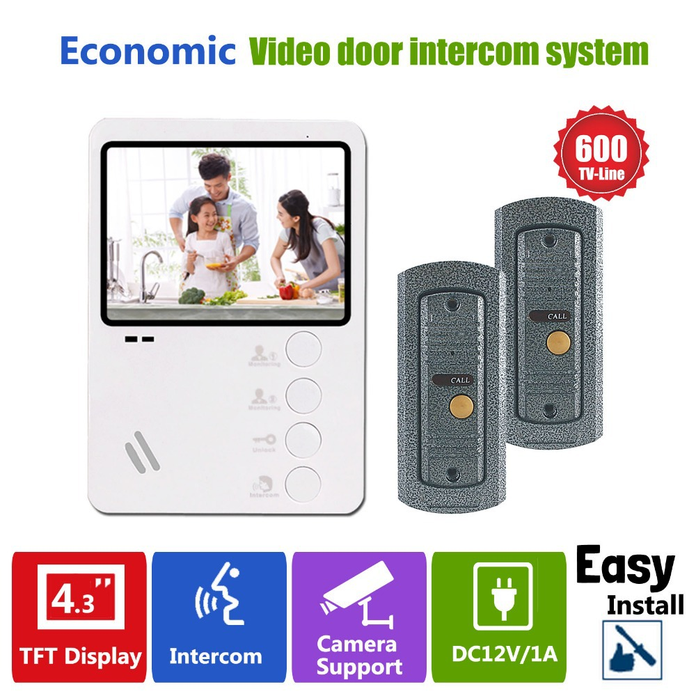 Homefong 4.3 Video Door Intercom Doorphone with camera security system doorbell 2 to 1 videocitofono system Home security<br><br>Aliexpress