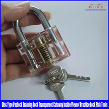 50pcs/lot wholesale Disc Type Padlock Training Lock Transparent Cutaway Inside View of Practice Lock Pick Tools