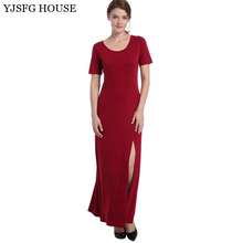 YJSFG HOUSE Fashion Women O-neck Short Sleeve Office Work Dresses Ladies 2017 Summer Long Maxi Beach Dress Split Slim Fit Robe