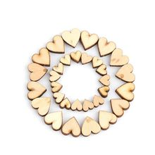 100pcs 4 Sizes Mixed Rustic Wooden Love Heart Wedding Table Scatter Decoration DIY Craft Accessories