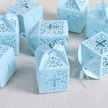 10pcs Cross candy box gift bag Christening Baptism Baby Shower boys girls kids first Birthday wedding bridal shower church favor(China)