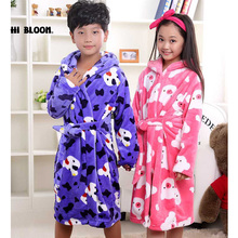 Flannel Girls Children's Bathrobes Kids Winter Spring robe fille enfant Pajamas Cartoon Kids Clothing Sleepwear(China)