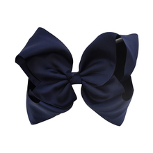 Fashion 8 inch Large Hair Bow Solid Ribbon Navy Blue Girls Boutique BIG Bows Hairpins With Alligator Clips Hair Accessories(China)