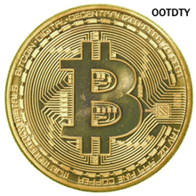 OOTDTY 1 x Gold Plated Bitcoin Coin Collectible BTC Coin Art Collection Gift Physical-S127 HXP001