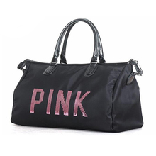 Newest Design Sequins PINK letters Gym Fitness Sports Bag Shoulder Crossbody Bag Women Tote Handbag Travel Duffel Bolsa Y8APIN30(China)