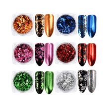 0.2g/box 6 Colors Nail Glitter Aluminum Flakes Mirror Effect Nail Powders Irregular Sequins Chrome Pigments Nail Art Decorations