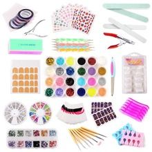 2017 Brand New 23 in 1 Jewellery Decorations Nail Art Manicure Tools Set and kit File Sequins Glitter Powder Nail art tips Brush