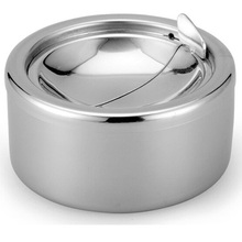 Stainless Steel Windproof Ashtrays Flip-top Table-Top Smokeless Ashtray(China)