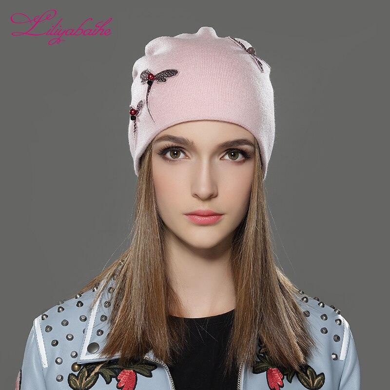 LILIYABAIHE Women  Winter Hat  Knitted Wool Casual Cap Solid Colors Femme BeanieNow the most popular decoration cap for Girls Îäåæäà è àêñåññóàðû<br><br>