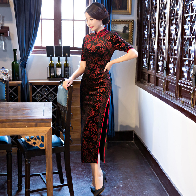 Black-Red Traditional Chinese Dress Women\`s Satin Long Cheongsam Qipao Flower Short Sleeve Chinese Oriental Dresses Size M-4XL (2)