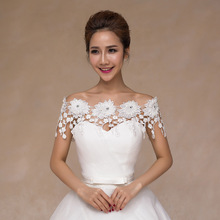 2016 Free Shipping Romantic Bateau White With Appliques And Crystal Wedding Jackets Bridal Shawl Wrap Cheap Wedding Accessories