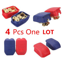 4PCS/2 pair Car Style 12V Quick Release Battery Terminals Clamps jump lead Connector for Car Caravan Boat Motorhome with Caps(China)