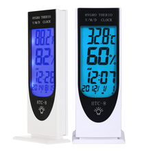 digital room thermometer indoor clock date and thermometer backlight electronic thermometer for room temp HTC-8