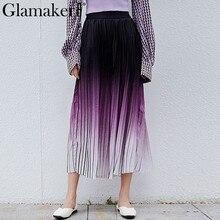 Glamaker Élégante plissée gradient pourpre jupe Femmes automne hiver taille  haute jupe Coréenne mode casual streetwear lâche jup. f506fffca18