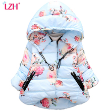 LZH Baby Girls Jacket 2017 Winter Jacker For Girls Floral Coat Kids Warm Hooded Children Outerwear Coat Infant Girls Clothes