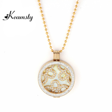 Keamsty Fashion Design Ball Chain Crystal Coin Holder Necklace Set with Flower and Nature Shell Two Coins Disc Women DIY Jewelry(China)