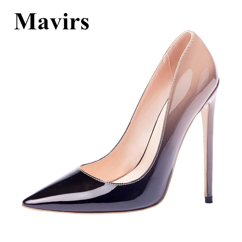 MAVIRS 12CM Extreme High Heels Woman Pumps Brand Shoes Patent Gradient Black Red Nude Gray Stiletto Wedding Shoes US Size 5-15<br>