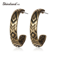 Retro Tibetan Antique Gold Silver Plated Vintage Round Carving Hoop Earrings For Women Fashion Jewelry Brincos Boucle Doreille