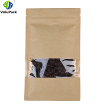 12x20cm/4.75x7.75in Tear Notch Reclosable Brown Flat Pouch Kraft Paper Zip Lock Bag With Clear Window 100pcs(China)