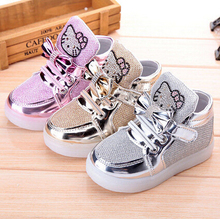 2016 High Quality Autumn Children's Fashion Sneakers Kids Shoes with light Chaussure Enfant Hello Kitty Girls Shoes