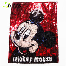 Mouse Embroidered Patches for Clothing Biker Motorcycle Cartoon Sequined Iron on Patches for Clothes Tops Jeans Jackets Vest DIY