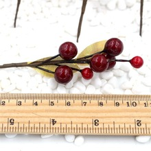 NEW 20pcs (1pcs = 7 heads) Simulation pomegranate fruit Berries Artificial Flower Red Christmas Cherry Stamen Wedding Decoration