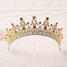 Shineling Jewelry Stunning Classic Red and Green Crystal Rhinestones Gold Wedding Tiara Bridal Crown Pincess Headpiece
