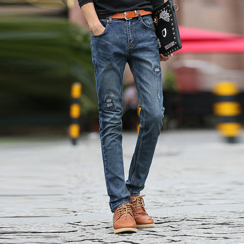 The new spring and summer 2017 mens jeans slim hole elastic jeans male Korean fashion jeans patchОдежда и ак�е��уары<br><br><br>Aliexpress