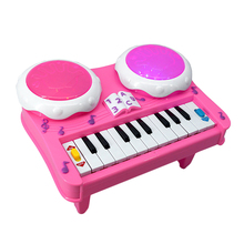 Cute Pink Baby Girl Musical Instrument Toy Educational LED Light Piano Developmental Infant Playing Type Music Drum Toy